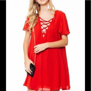 show me your mumu red Kylie Lace Up Dress Sz.S
